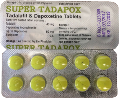 Super Tadapox (40mg Tadalafil & mg 60Dapoxetin) Tabletten